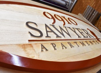 Unfinished Redwood Signage for Business Logo