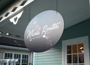 Boutique Hanging Sign for Maria Bonita made of Dibond Material