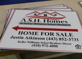 A.S.H Homes Plastic Coroplast Lawn Signs made to Promote Real Estate Properties