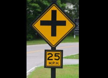 Four Way Street  Reflective Sign with Pole Mount