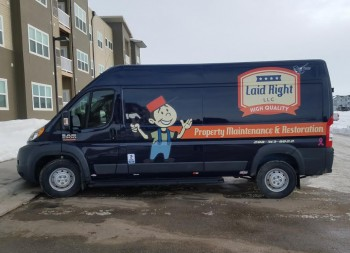 Vinyl Lettering and Design for Laid Right Business Van