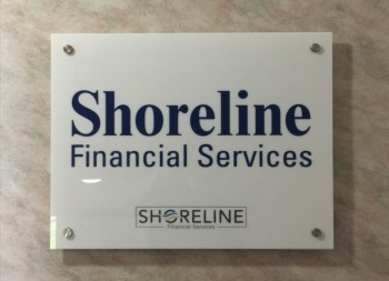 Shoreline Financial Services Plastic Wall Signage with Brushed Aluminum Screwcaps