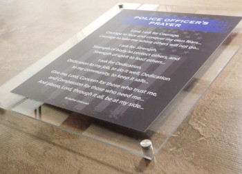 Police Officer's Prayer on Acrylic Plastic Sign Wall Mounted with Standoffs
