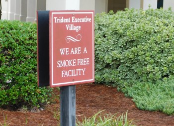 Wooden Post Sign For Trident Executive Village