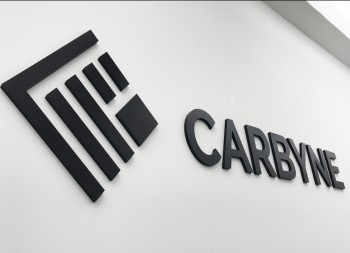 Wall Lettering for Carbyne with Plastic Letters and Logo