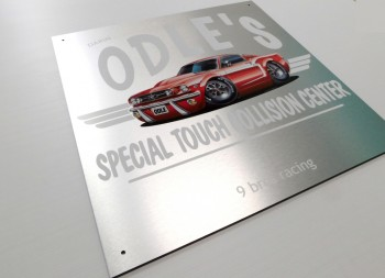 Odle's Aluminum Racing Sign with Car Graphic in Full Color