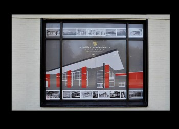 Red White and Grey Perforated Window Design for Business Advertisement