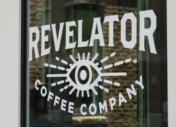 Revelator Coffee Logo and Graphics done in Vinyl Lettering for Advertising