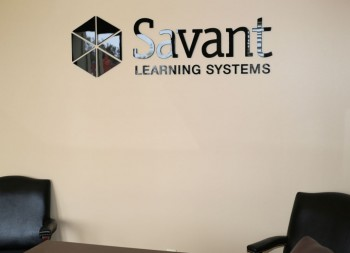 Savant Learning System's Design and Logo done in Plastic Letters