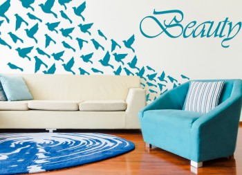 Living Room Vinyl Graphic for Walls with Bird Design and Lettering