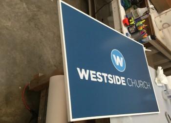 Finished Westside Church Signage Made of Armour-Wood