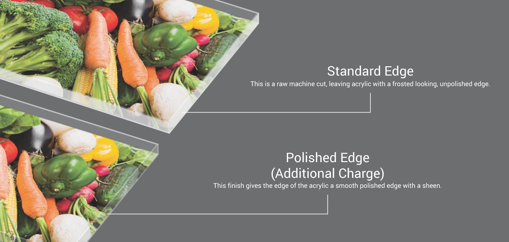 standard vs polished acrylic edges