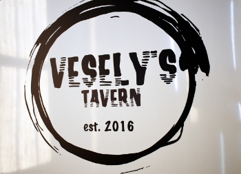 White Business Sign on Aluminum Panel for Vesly's Tavern