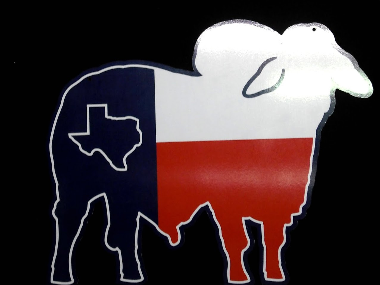 Red, white, and blue PVC Plastic Indoor Wall Sign cut in the shape of a cow with a graphic of the state of Texas
