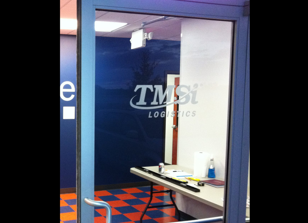 TMSI Logistics Graphic Door Window Design Using Vinyl Letters