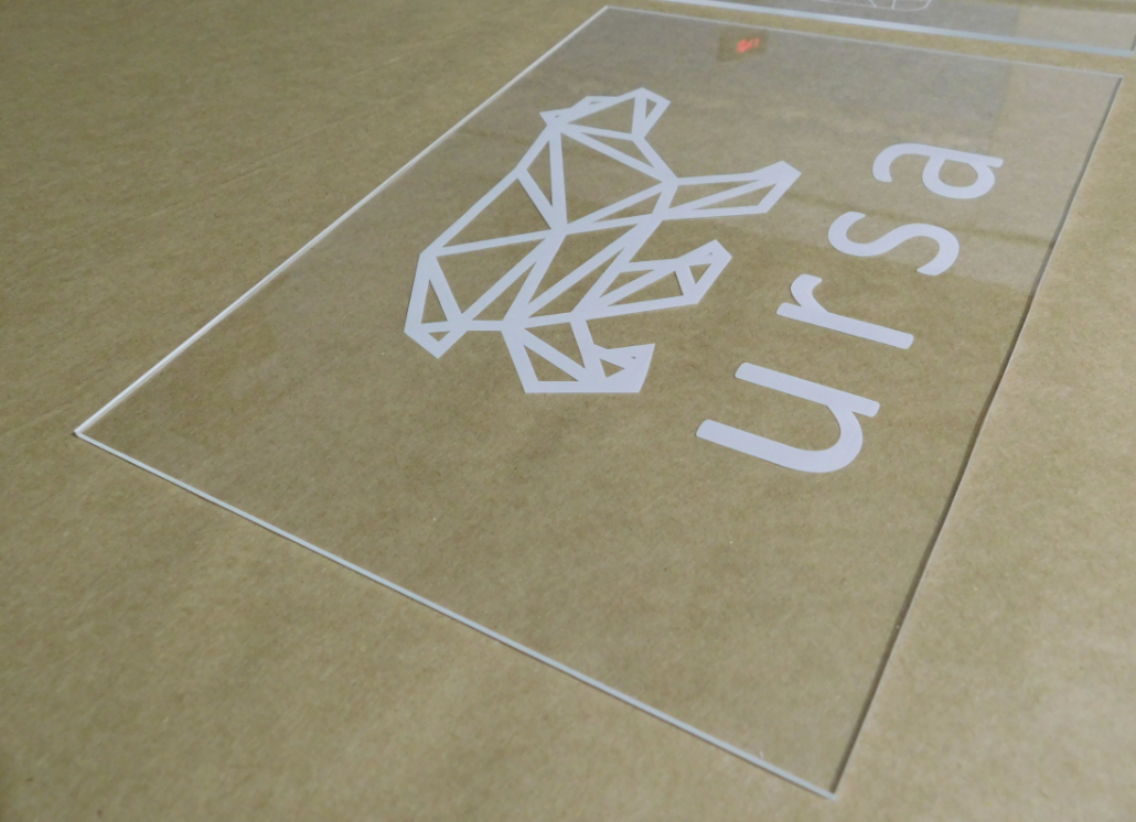 Engraved clear acrylic indoor wall sign with bear constellation graphic and text that reads: ursa