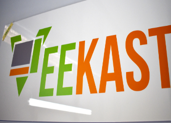 Veekast Logo on Metal Signage for Outdoor Use