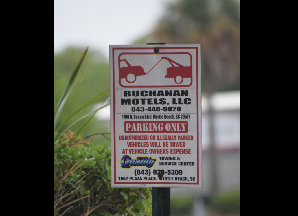 Motel Vehicle Towing Reflective Parking Sign for Business Use