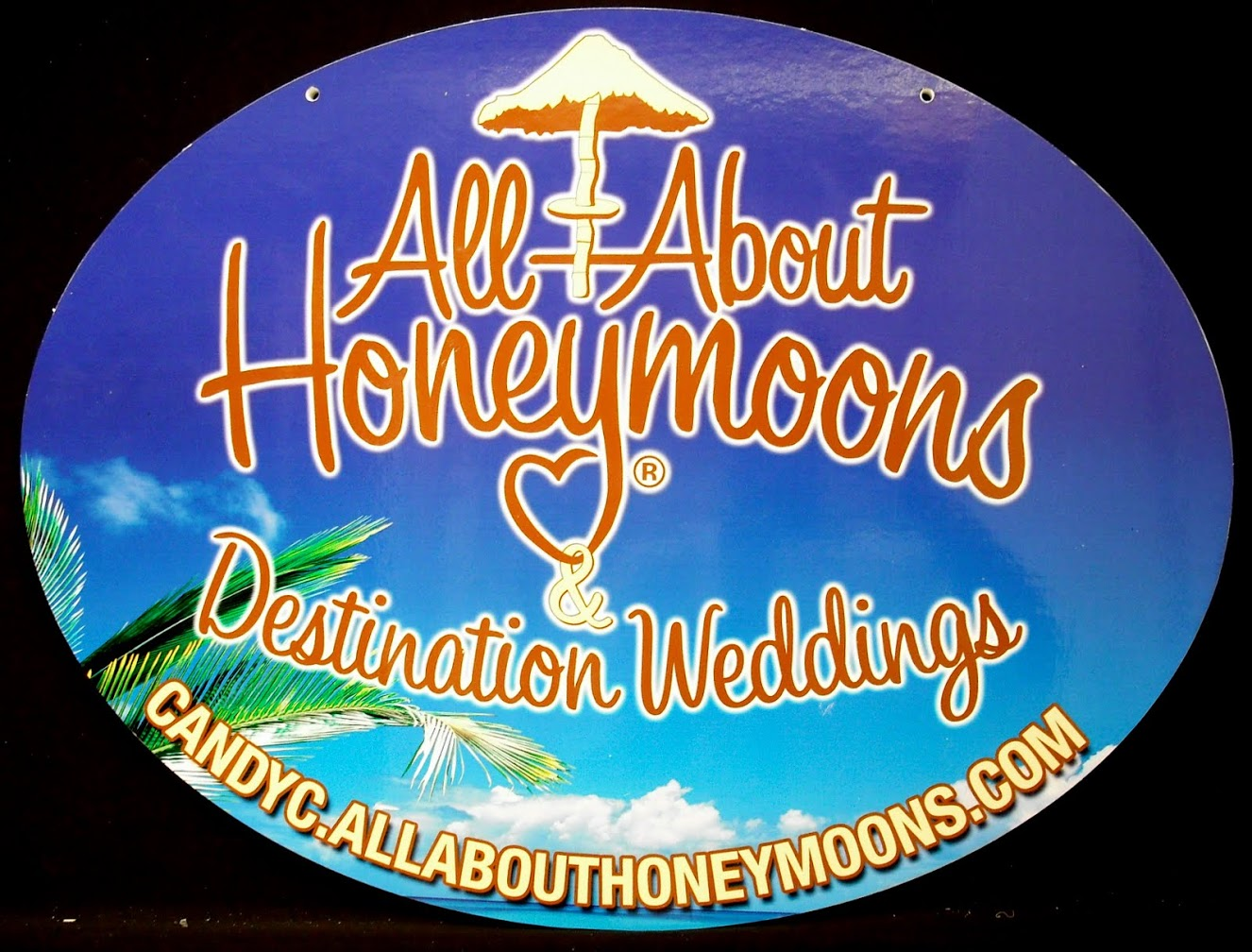 Honeymoon Destinations sign made out of PVC plastic