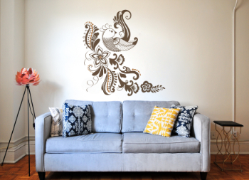 Vinyl Graphic for Wall Decoration of Bird and Flowers
