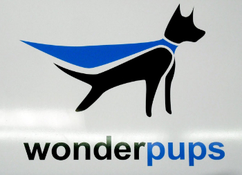 Wonderpups Logo for Outdoor Wall Sign Made of Armour-Wood Material