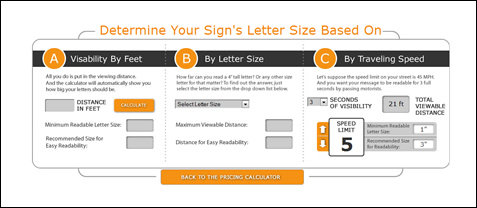 Screen shot of Letter Sizing Calculator